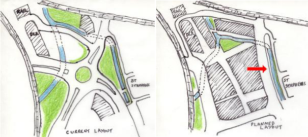 """The current and planned layouts for the """"Lewisham Gateway"""" area"""