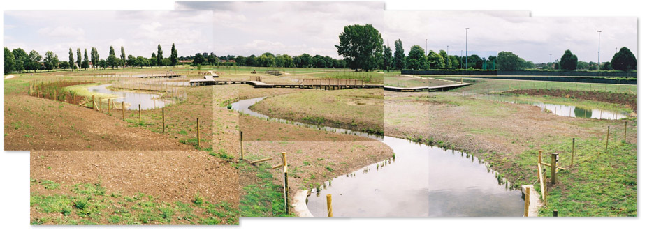 Photo collage of the restored river and flood plain in Sutcliffe Park