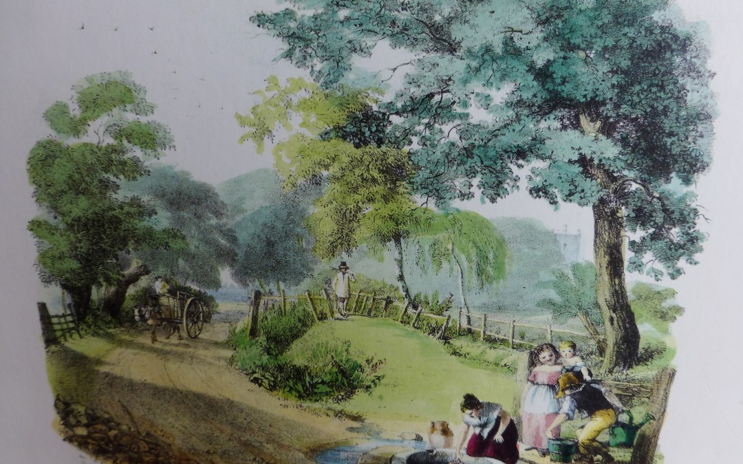 Drawn from Nature & on Stone, Henry Warren. Reproduction from the original lithograph held at the Local History Centre of the London Borough of Lewisham Printed by C Hullmandel, circa 1827, Hand coloured by Dodie Masterman