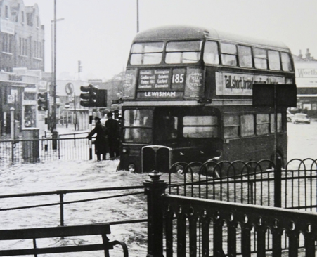 A 185 AEC RT bus on Lewisham High Street